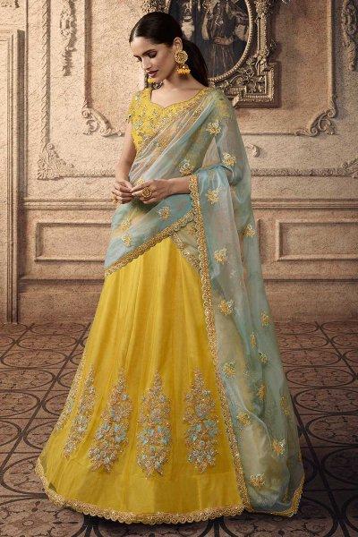 Sunshine Yellow Net Lehenga Choli with Embroidery