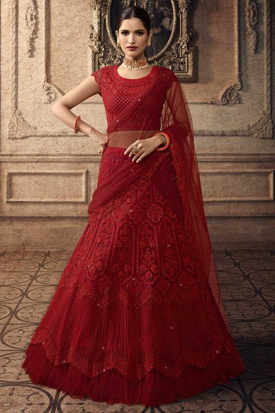 Ravishing Red Net Lehenga Choli with Embroidery