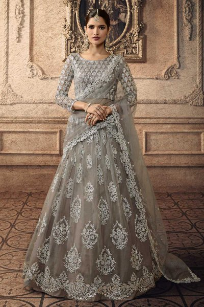Designer Lehenga Choli with Embroidery in Net
