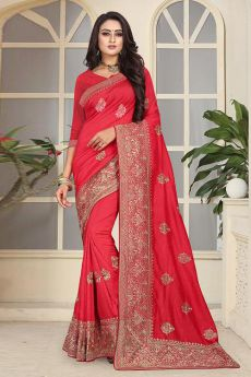 Designer Party Wear Art Silk Saree In Ravishing Red Colour