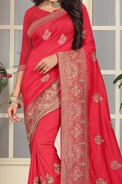 Designer Party Wear Art Silk Saree In Ravishing Red Colour
