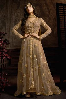 Hazelnut Brown Net Anarkali Suit With Embroidery