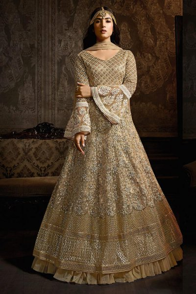 Beige Anarkali Suit with Embroidery