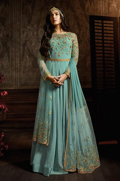 Turquoise Blue Anarkali Suit with Floral Embroidery