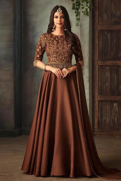 Chocolate Brown Floor Length Anarkali Suit with Embroidery
