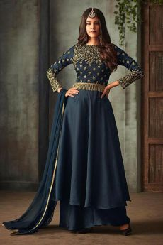 Space Blue Anarkali Suit with Embroidery