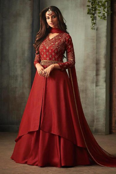 Cherry Red Anarkali Suit with Embroidery