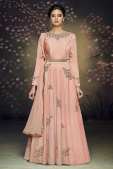 Peach Anarkali Suit with Embroidery