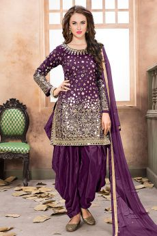Purple Patiala Suit with Embroidery