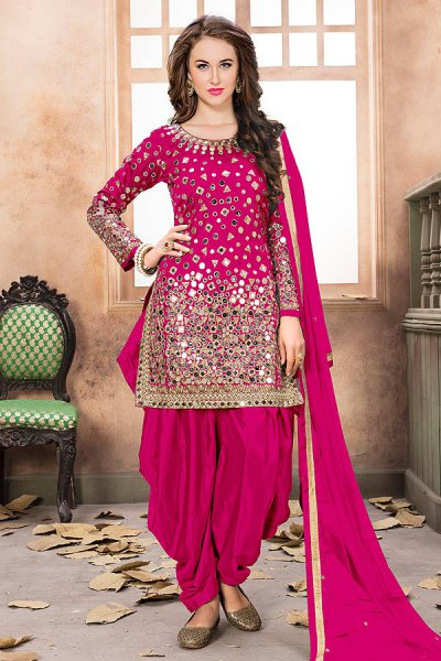 Fuschia Patiala Suit with Embroidery