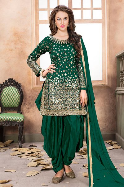 Bottle Green Patiala Suit with Embroidery