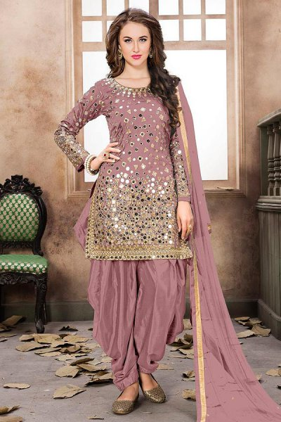 Mauve Patiala Suit with Embroidery