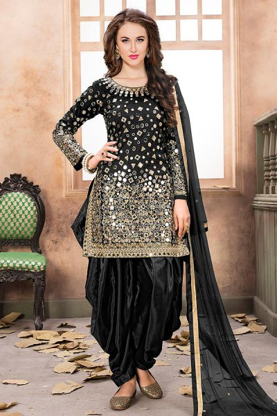 Black Patiala Suit with Embroidery