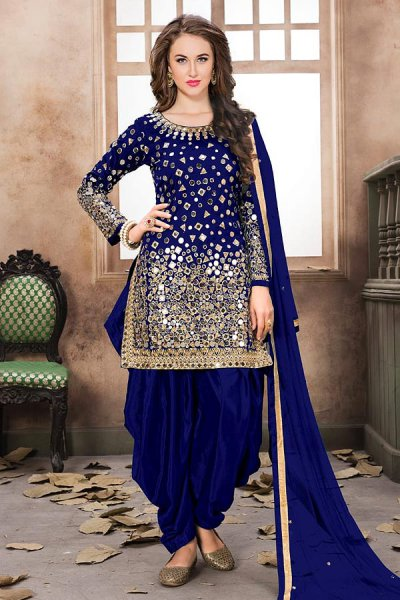 Blue Patiala Suit with Embroidery