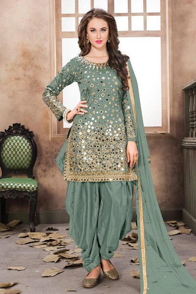Sage Green Patiala Suit with Embroidery