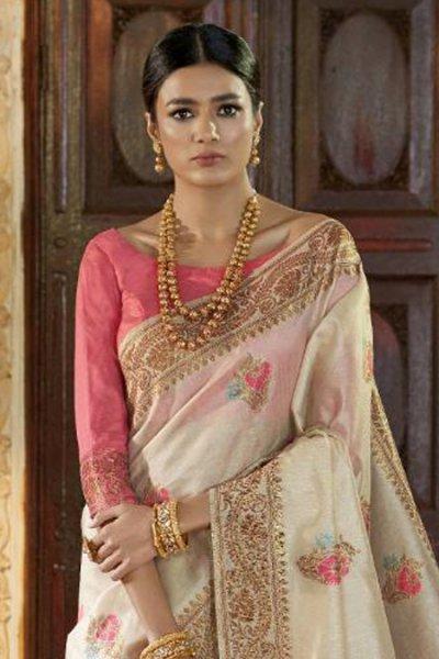 Designer Silk Saree Woven with Boti Work All Over