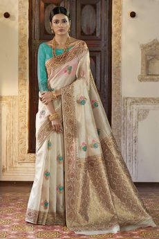Designer Silk Saree Woven with Boti Work All Over