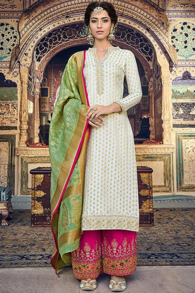 Off White Jacquard Salwar Kameez with Banarasi Dupatta