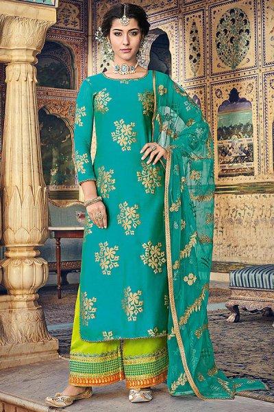 Mint Gold Print Georgette Salwar Kameez with Net Dupatta