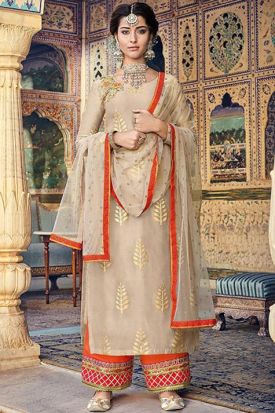 Beige Chanderi Kurta with Gotta Work Palazzo and Dupatta