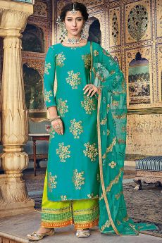 Teal Green Salwar Kameez with Zari Work Dupatta
