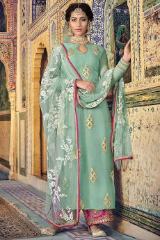 Mint Gold Print Georgette Salwar Kameez with Net Dupatta