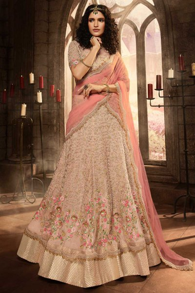Baby Pink Embroidered Lehenga Choli in Net
