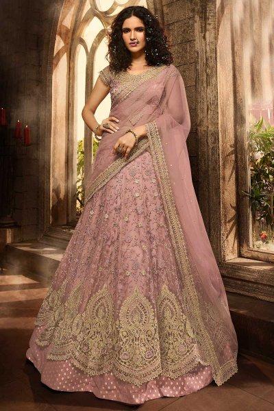 Designer Dusky Pink Lehenga Choli with Embroidery in Net