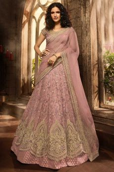 Designer Dusky Pink Lehenga Choli with Embroidery in Net