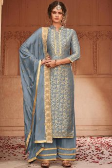 Steel Blue Banarasi Jacquard Palazzo Suit with Embroidered Dupatta