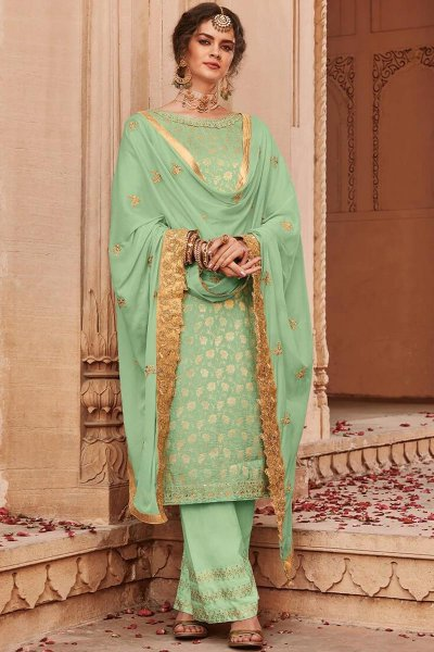 Pista Green Banarasi Jacquard Palazzo Suit with Embroidered Dupatta