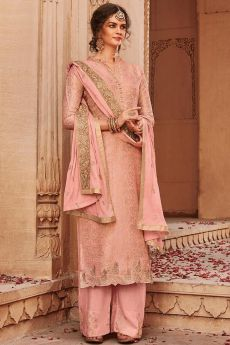 Blush Pink Banarasi Jacquard Palazzo Suit with Embroidered Dupatta