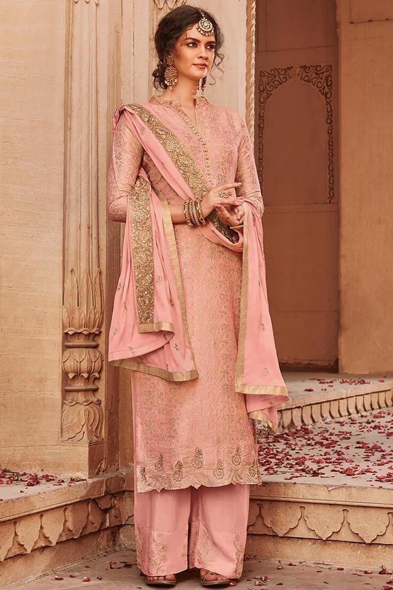 Appealing banarasi jacquard palazzo suit in blush pink