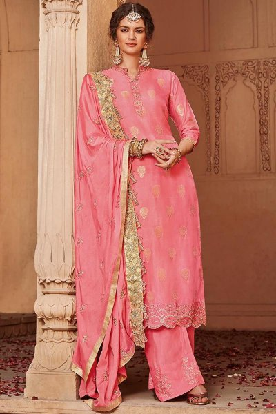 Pink Banarasi Jacquard Palazzo Suit with Embroidered Dupatta