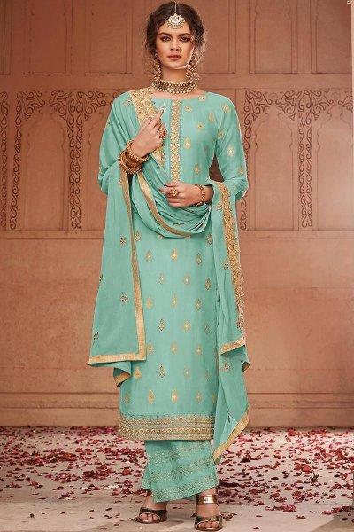 Blue Banarasi Jacquard Palazzo Suit with Embroidered Dupatta