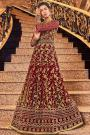Maroon Net Anarkali Suit with Zari Embroidery