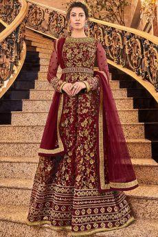 Maroon Net Anarkali Suit with Zari Embroidery