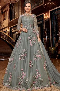 Powder Grey Net Anarkali Suit with Satin Floral Work