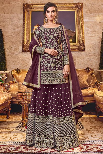 Plum Palazzo Set in Net with Intricate Embroidery