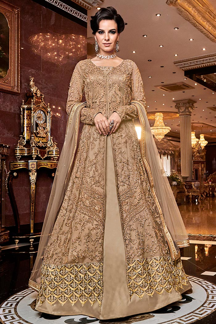 Golden Brown Embroidered Front Slit Anarkali Suit with Pant/Lehenga