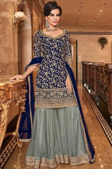 Gorgeous Navy Embroidered Sharara Set in Net