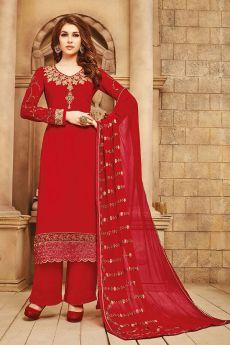 Radiant Red Embroidered Georgette Palazzo/Salwar Kameez