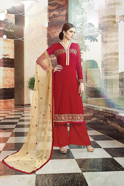 Ruby Red Embroidered Pure Georgette Salwar Suit