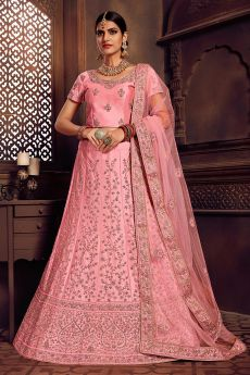 Pink Kalidar Lehenga Choli Set in Silk
