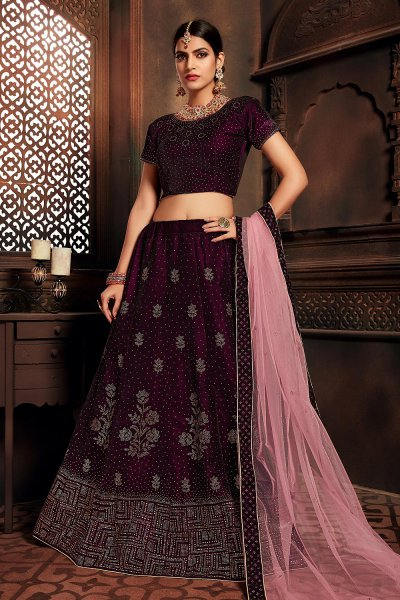 Wine Embellished Lehenga Choli Set in Velvet