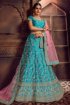 Turquoise Kalidar Lehenga Choli Set in Silk