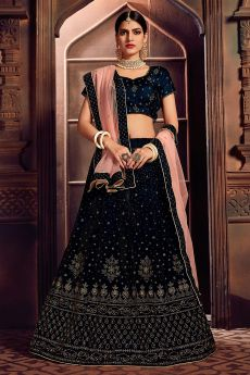Navy Blue Embellished Lehenga Choli Set in Velvet