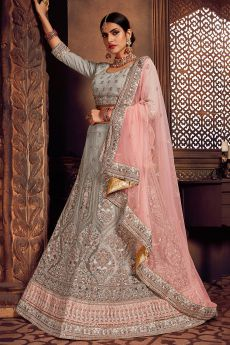 Pink and Grey Net Lehenga Choli with Embroidery