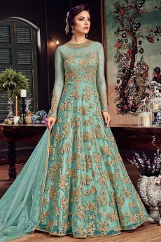 Cyan Floor-Length Anarkali Suit with Zari Embroidery in Net