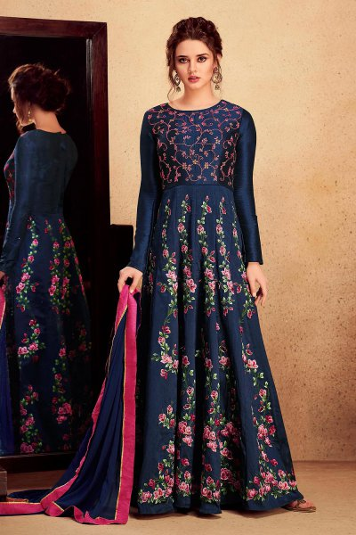 Navy Blue Floral Printed and Embroidered Anarkali Suit in Silk